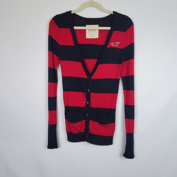 Hollister Co PinkBlue Striped VNeck Cardigan XS